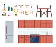 Интерьер кухни с мебелью и кухонным шкафом, блюдами, холодильником и утварями на белой предпосылке Изолированная таблица с стулья бесплатная иллюстрация