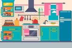Интерьер кухни с мебелью, утварями, едой и приборами Включая холодильник, печь, микроволна, чайник, бак также вектор иллюстрации  Стоковое фото RF