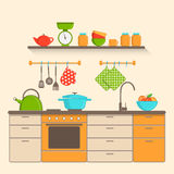Интерьер кухни с утварями, мебелью и инструментами в плоском стиле Стоковое Изображение RF