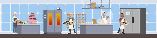 Интерьер кухни хлебопекарни иллюстрация вектора