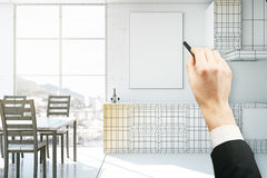 Интерьер кухни чертежа руки стоковая фотография rf