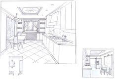 Интерьер кухни Стоковая Фотография