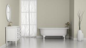 Интерьер классической ванной комнаты с белыми стенами Стоковое Фото