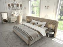 Интерьер классической спальни стиля в роскоши Стоковое Изображение RF