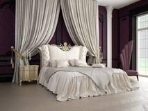 Интерьер классической спальни стиля в роскоши Стоковые Изображения
