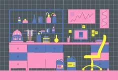 Интерьер лаборатории Лаборатория рабочего места Биологический, медицинский или химическая лаборатория иллюстрация вектора