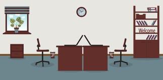 Интерьер места службы в офисе на светлом - серая предпосылка r Мебель: таблица, стул, шкаф с иллюстрация вектора