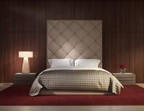 Интерьер минимальной современной спальни роскошный Стоковое фото RF