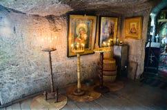 Интерьер монастыря пещеры Стоковая Фотография