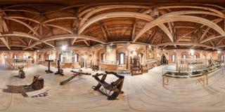 Интерьер музея пытки и аппаратур пыткой сферически панорама 3D с углом наблюдения 360 градусов Подготавливайте для виртуального стоковые фотографии rf