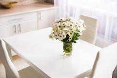 Интерьер новой яркой белой домашней кухни Стоковая Фотография