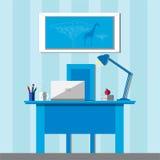 Интерьер домашнего офиса с мебелью, книгами, кофе и компьтер-книжкой иллюстрация штока