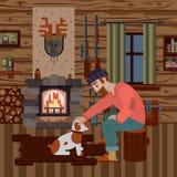 Интерьер дома охотника деревянного с различными деталями Стоковое Изображение