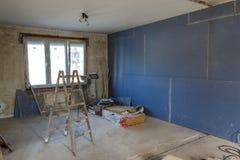 Интерьер дома под конструкцией Реновация apartme стоковые изображения