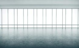Интерьер открытого пространства с большими окнами 3d бесплатная иллюстрация