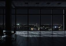 Интерьер офиса ночи Мультимедиа стоковое изображение rf