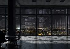 Интерьер офиса ночи Мультимедиа стоковая фотография rf