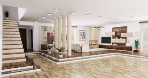 Интерьер панорамы 3d квартиры представляет иллюстрация вектора
