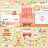 Интерьер питомника и комнаты младенца Стоковая Фотография