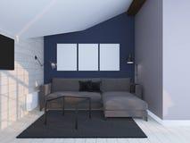Интерьер покрашенный светом современный 3d представляют Стоковое Изображение RF