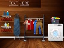 Интерьер прачечной с стиральной машиной, утюжа доской и одеждами засыхания Стоковое Изображение RF