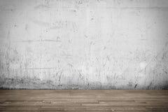 Интерьер предпосылки: пол бетонной стены и древесины Стоковая Фотография RF