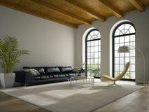 Интерьер просторной квартиры современного дизайна с черным переводом софы 3D Стоковое Изображение