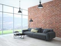 Интерьер просторной квартиры с кирпичной стеной и журнальным столом стоковое изображение