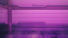 Интерьер протона пурпурный с пустым этапом Современная будущая предпосылка Концепция высокой технологии научной фантастики технол стоковая фотография rf