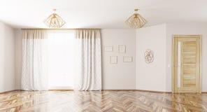 Интерьер пустой живущей комнаты 3d представляет Стоковая Фотография RF