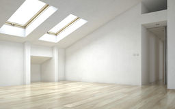 Интерьер пустой комнаты нового дома с окнами в крыше Стоковая Фотография RF