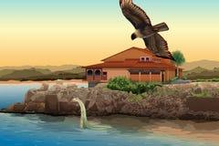 Интерьер пляжа House бесплатная иллюстрация