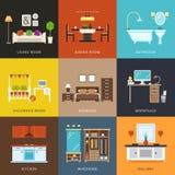 Интерьер различных типов комнат Иллюстрация вектора в плоском стиле иллюстрация штока