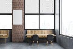 Интерьер ресторана просторной квартиры, насмешка вертикали вверх по плакату иллюстрация вектора