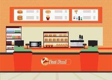 Интерьер ресторана фаст-фуда с гамбургером и напитком иллюстрация вектора