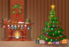 Интерьер рождества комнаты иллюстрация штока