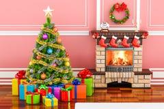 Интерьер рождества с камином, рождественской елкой и подарочными коробками иллюстрация штока