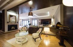 Интерьер роскошной квартиры с камином Стоковое Фото