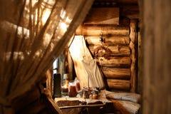 Интерьер русской деревянной сауны Стоковое Изображение