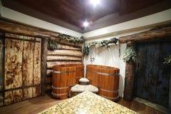 Интерьер русской деревянной сауны Стоковое фото RF