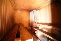 Интерьер русской деревянной сауны Стоковое Изображение RF