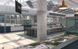 Интерьер рыб и морепродуктов магазина свежих 3D представляют Дизайн-проект рыбного базара стоковая фотография rf