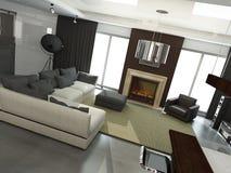 Интерьер самомоднейшего living-room бесплатная иллюстрация