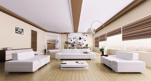 Интерьер самомоднейшей живущей комнаты Стоковое Фото