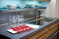 Интерьер самомоднейшей кухни Стоковая Фотография