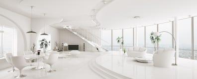 Интерьер самомоднейшей панорамы 3d квартиры представляет Стоковая Фотография