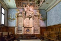 Интерьер синагоги Vittorio венето, XVIII век Италии стоковые изображения