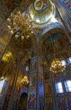 Интерьер собора воскресения Христоса в Санкт-Петербурге, России спаситель церков крови Стоковое фото RF