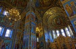 Интерьер собора воскресения Христоса в Санкт-Петербурге, России спаситель церков крови Стоковое Изображение RF