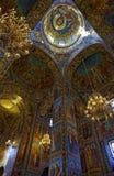 Интерьер собора воскресения Христоса в Санкт-Петербурге, России спаситель церков крови Стоковое Изображение